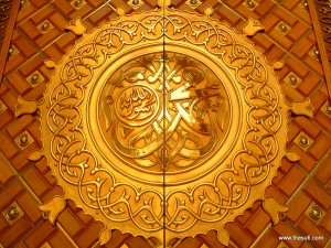 Golden door of masjid-e-nabwi medina munawara