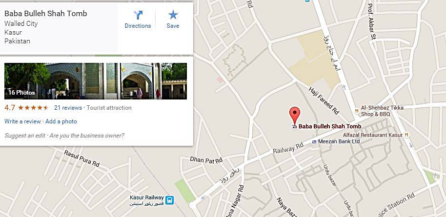 Google Maps - Bulleh Shah Mazar