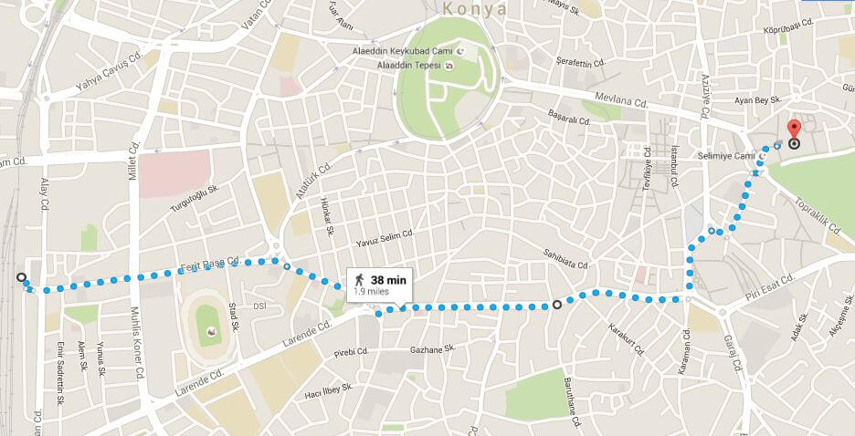 konya - map from station to mevlena museum [rumi's shrine]