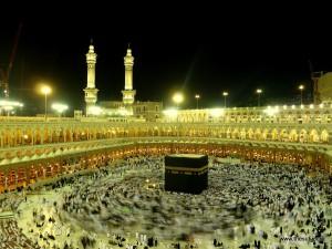 Pilgrims Orbitting Kaaba at Masjid-e-Haraam Makkah Muazma